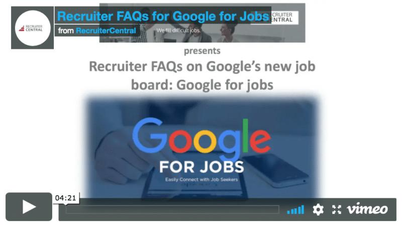 Recruiter FAQs on Google for Jobs