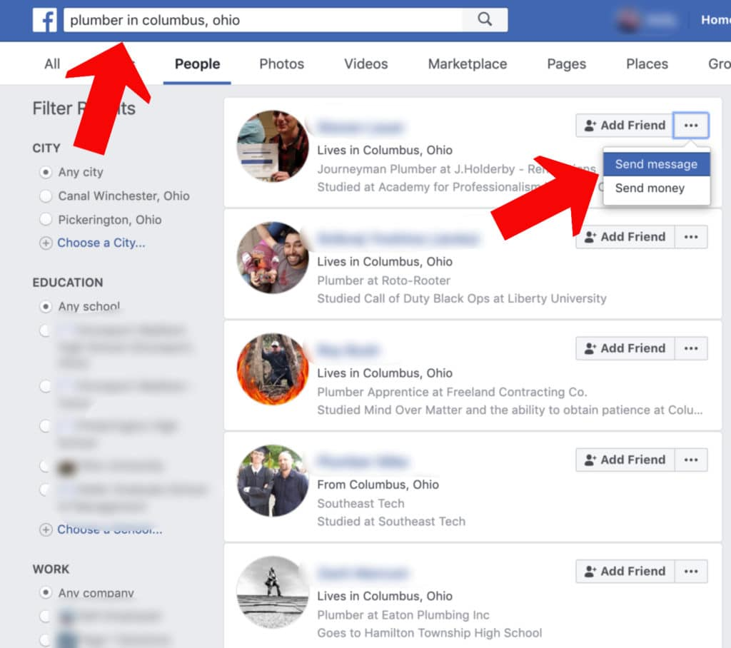 How to search facebook for blue collar workers